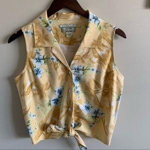 Tommy Bahama Hawaiian Print Tie Front Top Size M